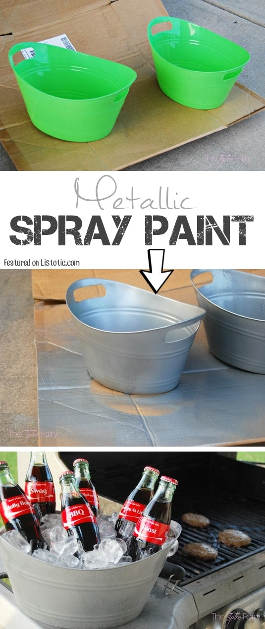 spray paint to give them a tin finish 29 cool spray paint ideas that. Black Bedroom Furniture Sets. Home Design Ideas